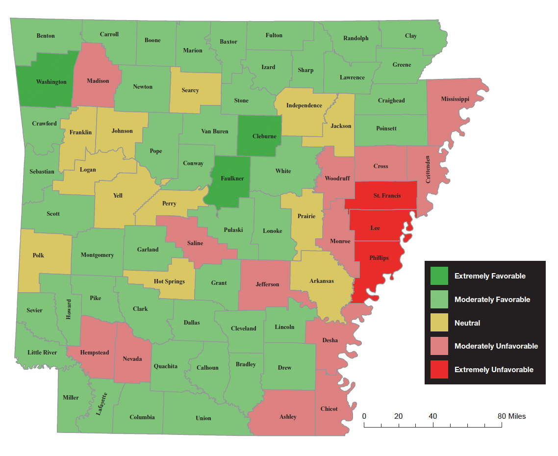 Arkansas Favorability Map